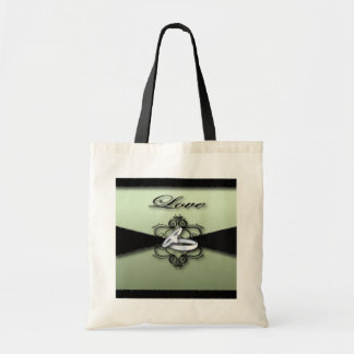 Chic Mint Green and Black Wedding Favor Budget Tote Bag