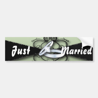 Chic Mint Green and Black Wedding Favor Bumper Sticker