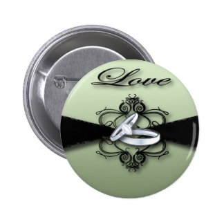 Chic Mint Green and Black Wedding Favor Button