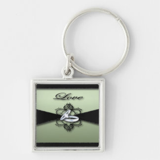 Chic Mint Green and Black Wedding Favor Keychain