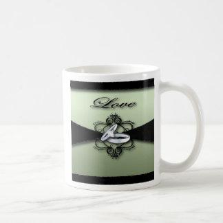 Chic Mint Green and Black Wedding Favor Coffee Mugs