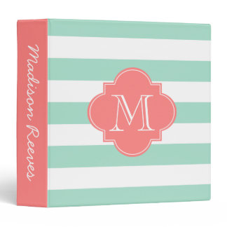 Chic Mint Green and Coral Striped Custom Monogram Binder