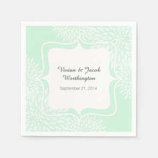 Chic Mint Green and White Floral Wedding Napkin