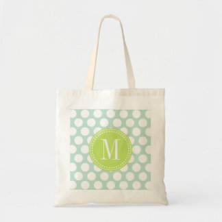 Chic Mint & Green Big Dots Monogrammed Tote Bag