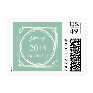 CHIC MINT GREEN GRADUATE 2014 POSTAGE