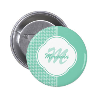 Chic Mint Green Houndstooth With Monogram and Name 2 Inch Round Button