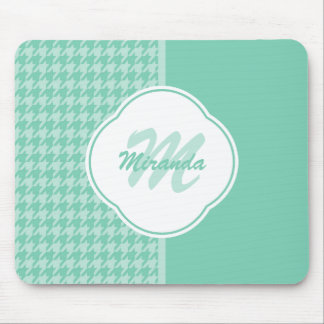 chic mint green houndstooth with monogram and name mouse pad chic mint teal office
