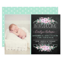 Chic Mint Green & Pink Flowers Birth Announcement