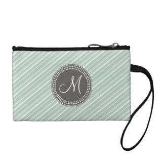 CHIC MINT GREEN STRIPES AND MONOGRAM CHANGE PURSE
