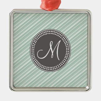 CHIC MINT GREEN STRIPES AND MONOGRAM METAL ORNAMENT