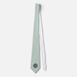 CHIC MINT GREEN STRIPES AND MONOGRAM NECK TIE
