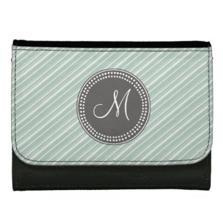 CHIC MINT GREEN STRIPES AND MONOGRAM WALLETS