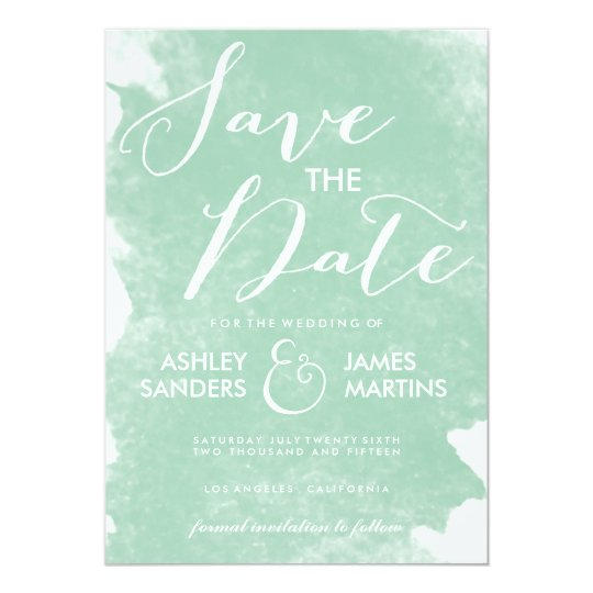 CHIC MINT GREEN WATERCOLOR SAVE THE DATE CARD