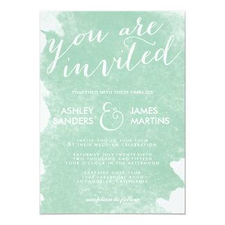 Mint green wedding invitations announcements zazzle chic mint green watercolor wedding invitation junglespirit Images