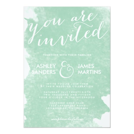 CHIC MINT GREEN WATERCOLOR WEDDING INVITATION Zazzlecom