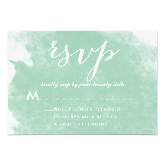 CHIC MINT GREEN WATERCOLOR WEDDING RSVP CARDS
