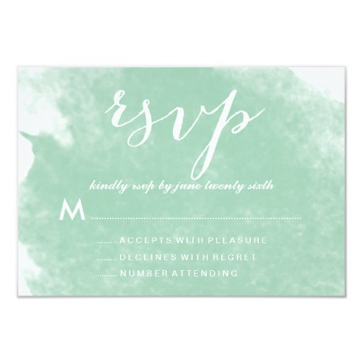 CHIC MINT GREEN WATERCOLOR WEDDING RSVP CARDS 35 X 5 INVITATION CARD