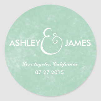 CHIC MINT GREEN WATERCOLOR WEDDING STICKERS
