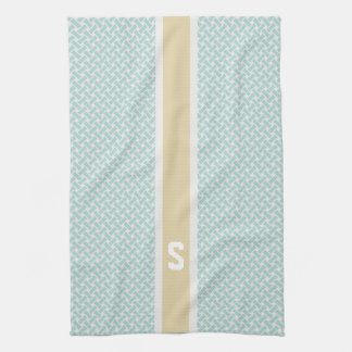 Chic mint herringbone geometric patterns monogram kitchen towel
