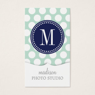 Chic Mint & Navy Big Dots Monogrammed Business Card