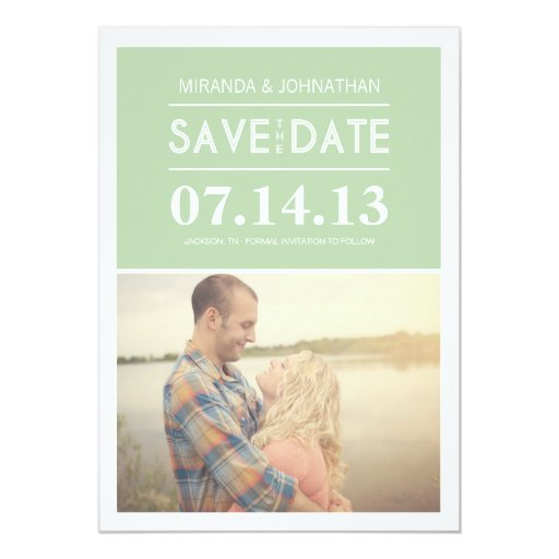 Chic Mint Photo Save The Date Invites