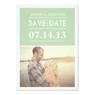 "Chic Mint Photo Save The Date Invites 5"" X 7"" Invitation Card"
