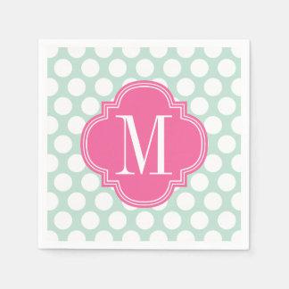 Chic Mint Pink Big Dots Monogrammed Paper Napkin