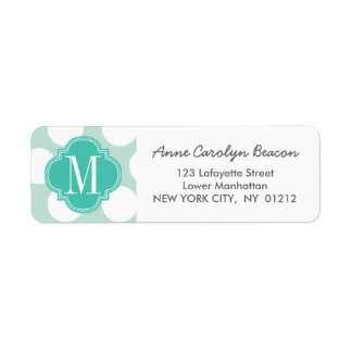 Chic Mint & Turquoise Big Dots Monogrammed Label