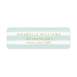 Chic Mint Watercolor Stripes Label