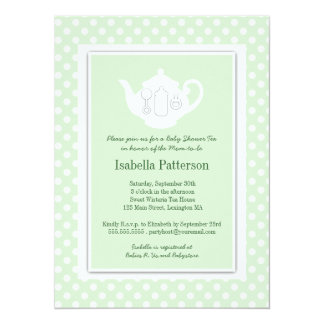 Chic Mint | White Teapot Baby Shower Tea Party Card