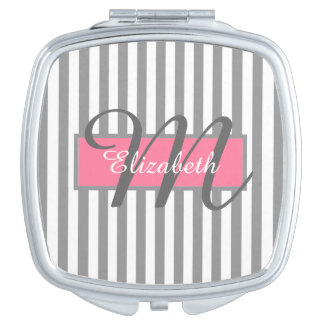 CHIC MIRROR COMPACT_252 GRAY/WHITE STRIPES MAKEUP MIRRORS