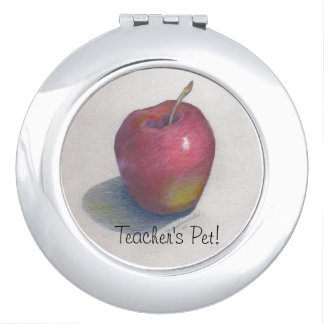 "CHIC MIRROR COMPACT_""Teacher's Pet!"" APPLE DESIGN"