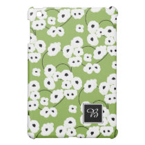 CHIC MOD WHITE & BLACK POPPIES ON GREEERY CASE FOR THE iPad MINI