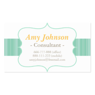 Chic, Modern and Refreshing Mint Stripes Pattern Business Card
