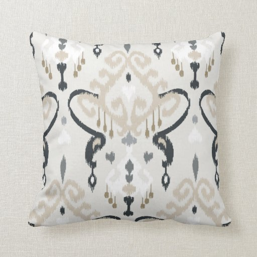 Chic modern beige black white ikat tribal pattern throw pillow Zazzle