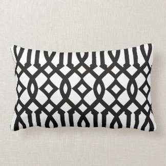Chic Modern Black and White Imperial Trellis Throw Pillows