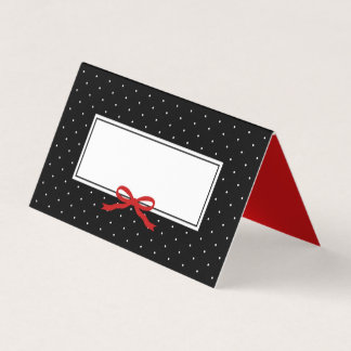 Chic Modern Black Polka Dot with Red Ribbon Place Card