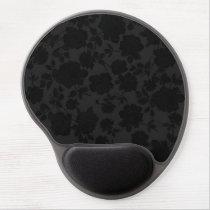 Chic Modern Black Trendy Vintage Floral Pattern Gel Mouse Pad