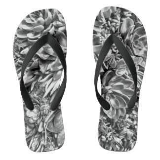 Chic Modern Black & White Succulent photo pattern Flip Flops