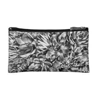 Chic Modern Black & White Succulent photo pattern Makeup Bag