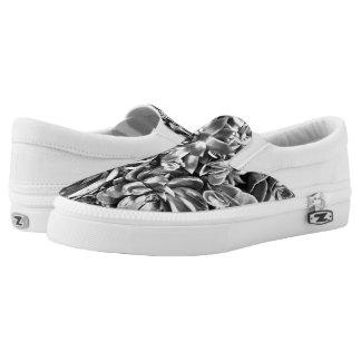 Chic Modern Black & White Succulent photo pattern Slip-On Sneakers