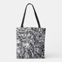 Chic Modern Black & White Succulent photo pattern Tote Bag