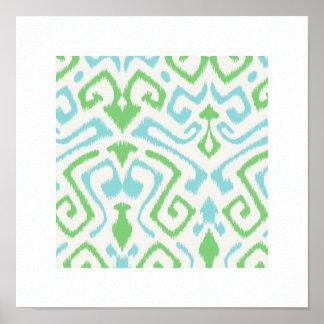 chic modern blue green ikat pattern tribal print