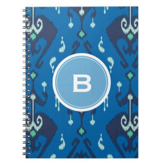 Chic modern blue ikat tribal pattern monogram notebook
