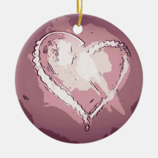 Chic Modern Champagne Rose Abstract Heart Ceramic Ornament