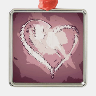 Chic Modern Champagne Rose Abstract Heart Metal Ornament