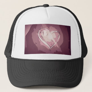 Chic Modern Champagne Rose Abstract Heart Trucker Hat