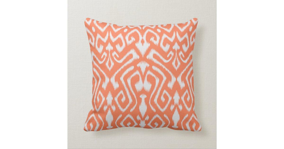 Chic modern colorful orange ikat tribal pattern throw pillow Zazzle