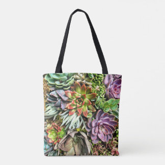 Chic Modern Colorful Succulent photo pattern Tote Bag