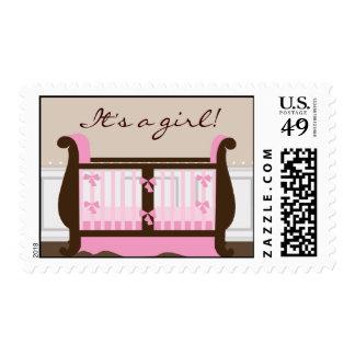 Chic Modern Crib Baby Shower Stamps